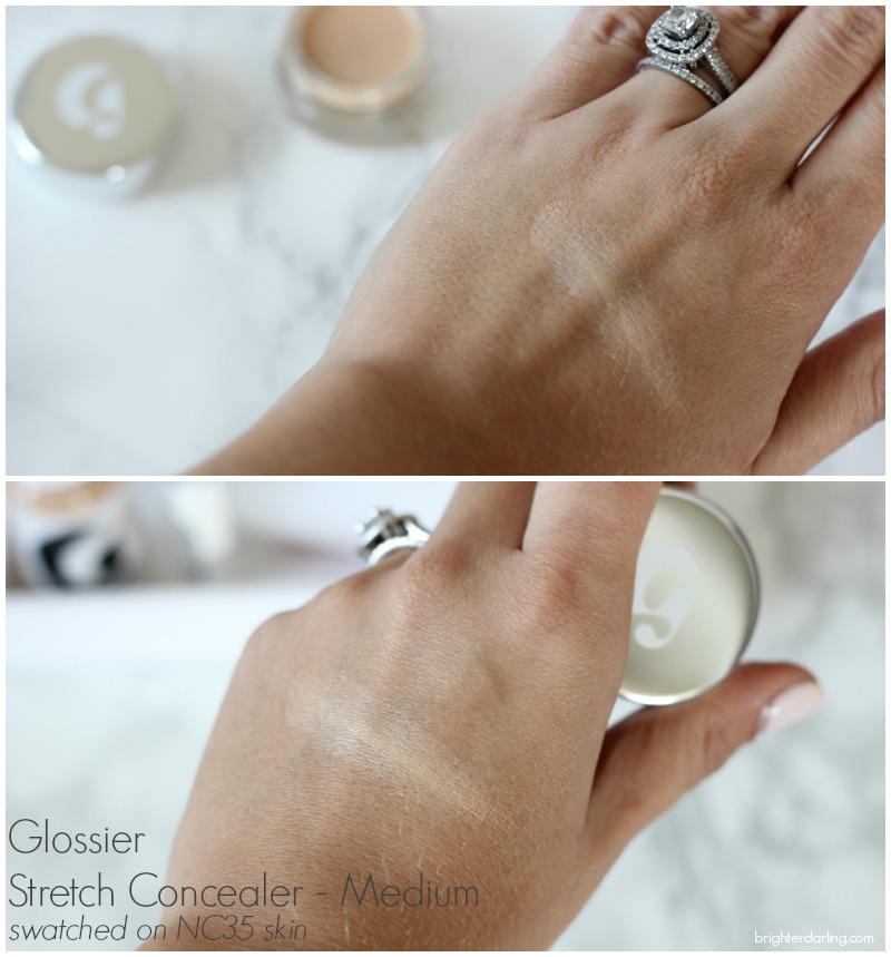 Glossier Stretch Concealer in Medium Swatch on NC35 Skin