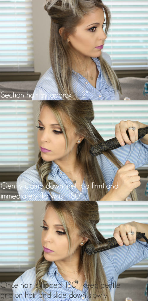 Flat Iron Curling Tutorial For Long Hair | How To Curl Long Hair With A Flat Iron Using amika Digital Titanium Glide Styler