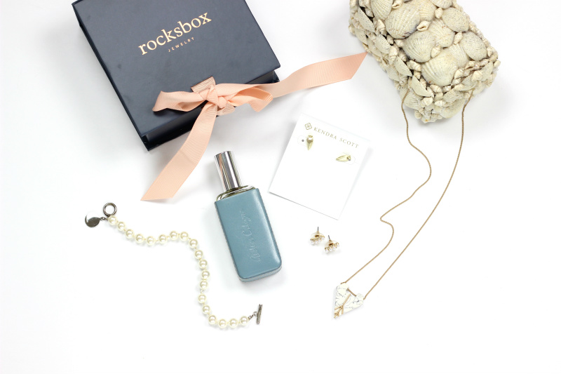 Rocksbox Review Month 1 | Brighter Darling | Slate Etched In Stone Pendant Necklace in Marbled White, Perry Street Mini Pearl Ear Climbers, Kendra Scott Stacey Earrings in Gold