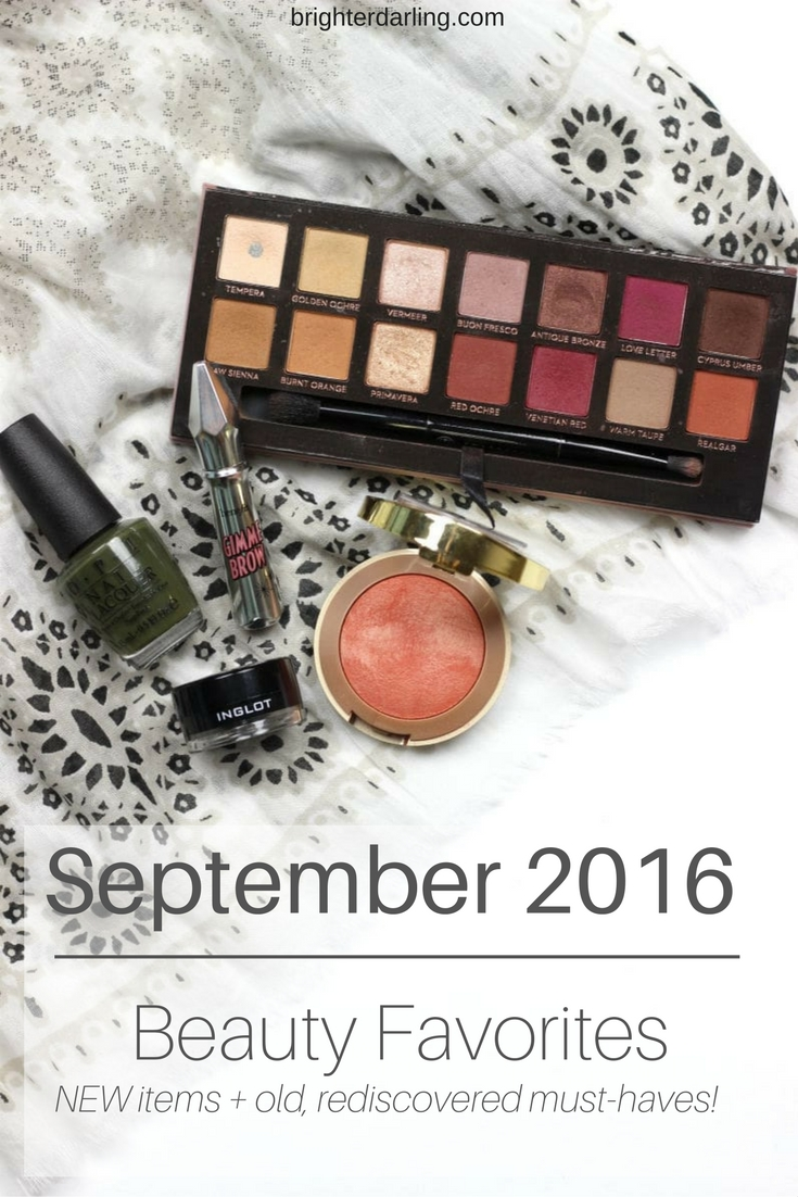 September 2016 Beauty Favorites | Anastasia Beverly Hills Modern Renaissance Palette, Benefit Gimme Brow, Milani Luminoso, Inglot Gel Liner 77, OPI Suzi The First Lady of Nails