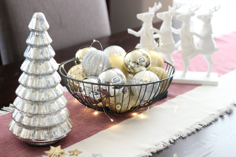 November 2016 POPSUGAR Must Have Box Review   Holiday Tablescape With Wine Chambray Runner and Decorative Wire Bowl with Silver and Gold Ornaments
