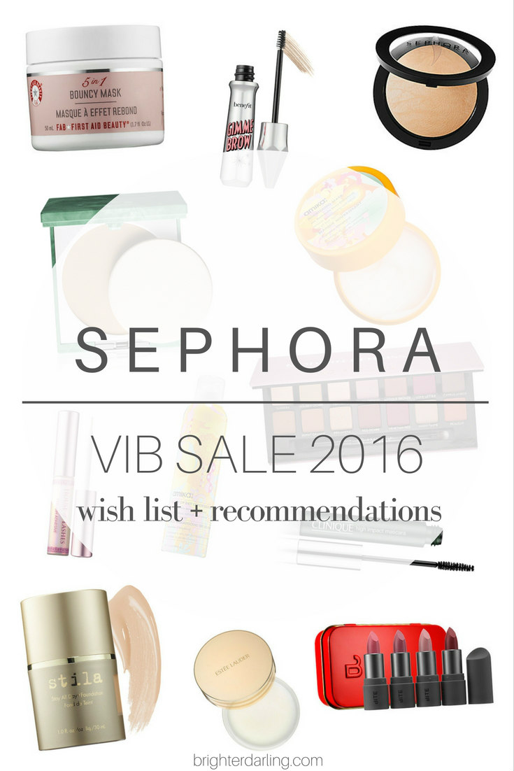 Sephoa VIB Sale Wish List and Product Recommendations Nov. 2016