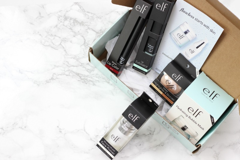 new elf products | hydrating bubble mask, mineral infused primer, lip exfoliator in mint, matte lip color in wine, baked highlighter and bronzer