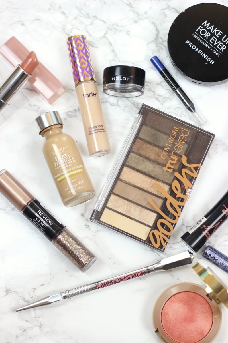 Drugstore Super Glam NYE Makeup | Revlon Eye Art Topaz Twinkle | Tarte Shape Tape Concealer Light/Medium Honey