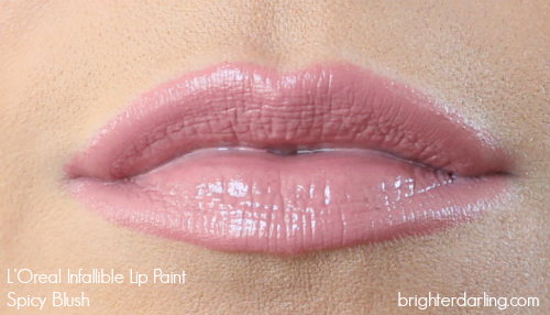Loreal Infallible Lip Paint in Spicy Blush on NC35