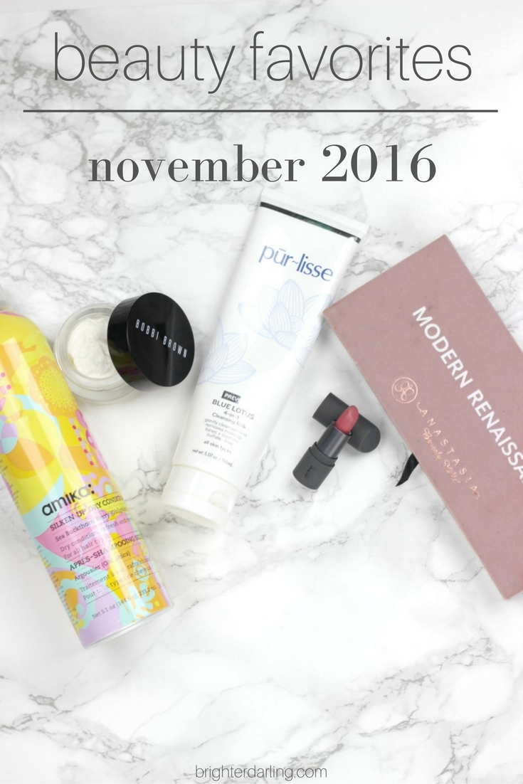 November 2016 Beauty Favorites | Purlisse Cleansing Milk, Amika Silken Up Dry Conditioner, Bobbi Brown Extra Eye Repair Balm, Bite Beauty Fig Lipstick