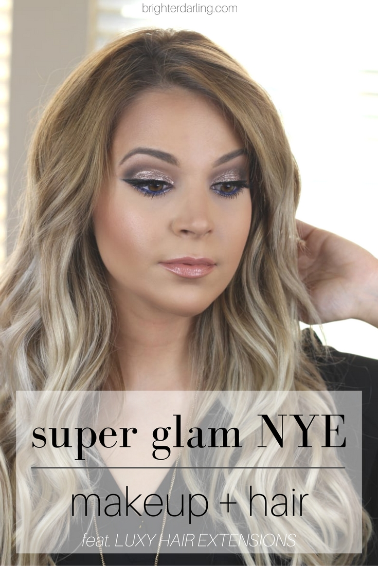 drugstore super glam NYE makeup and hair | LUXY HAIR Extensions 220g Ash Blonde
