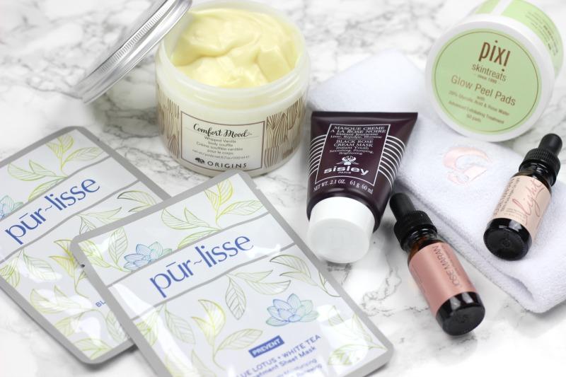 Winter Skin Care Must Haves   PurLisse Blue Lotus and White Tea Treatment Mask, Origins Comfort Mood Body Souffle, Sisley Creme Rose Mask, PIXI Glow Peel Pads, Josie Maran Argan Oil Light