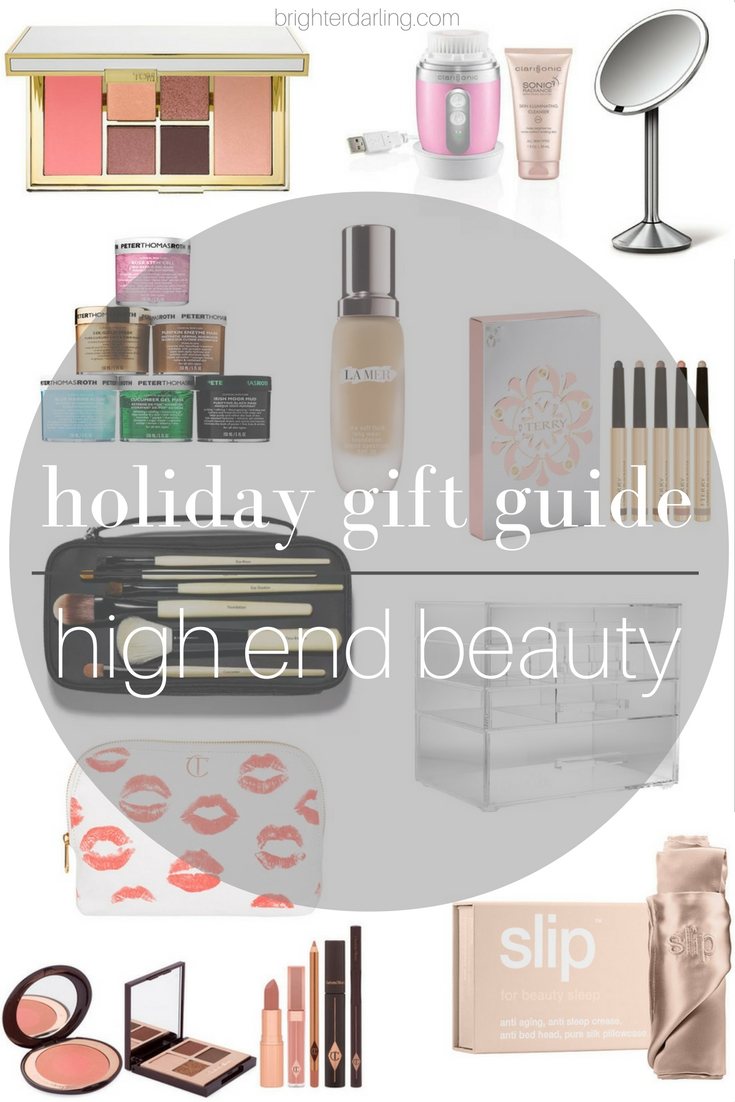 high end beauty gift guide 2016 | Peter Thomas Roth, La Mer, By Terry, Bobbi Brown, Charlotte Tilbury, SimpleHuman, Tom Ford, Slip Silk Pillowcase