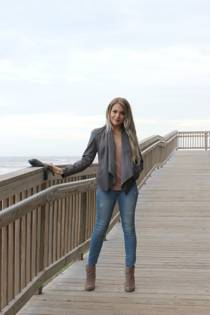 My easy go to winter outfit when you live in the south   nude suede booties   grey faux leather jacket