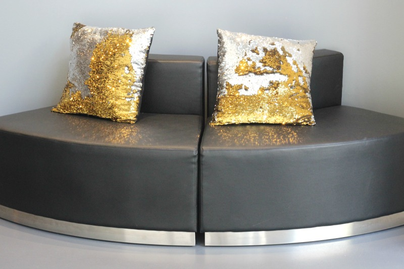 Midtown Med Spa In Houston | Sequin Gold and Silver Cushions