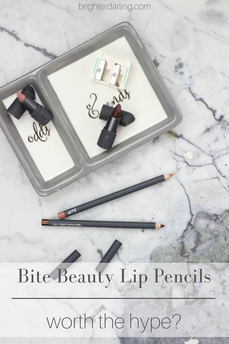 Bite Beauty Lip Pencils Review | Bite Beauty Lip Pencil Swatches in shades 020 and 044 with Bite Beauty Amuse Bouche Lipstick in Honeycomb and Whiskey | Beauty Blogger