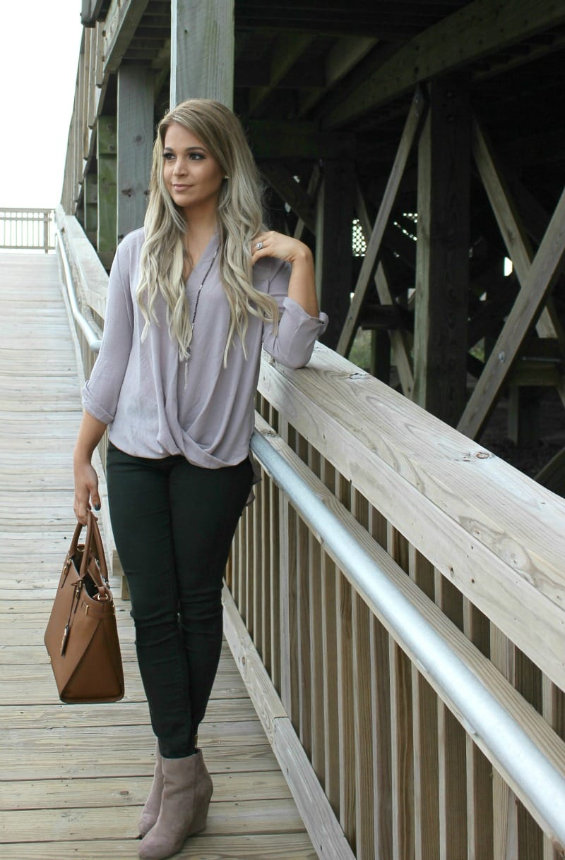 Loving Lately Hunter Green Skinny Jeans | Articles of Society | Lush Rollover Tunic Top and Nude Suede Booties with Panacea Drusy Pendant Necklace