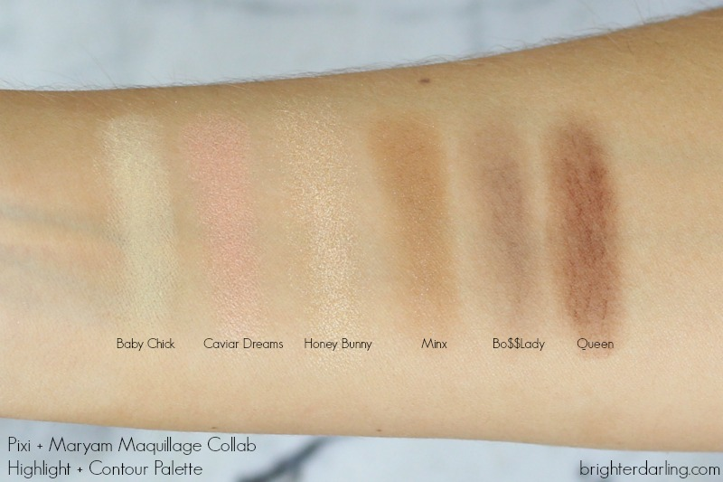 Pixi and Maryam Maquillage Review Highlight and Contour Palette Swatches | Pixi and Maryam Maquillage Review