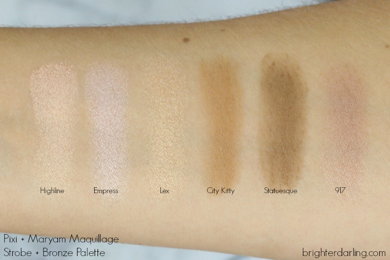 Pixi and Maryam Maquillage Strobe and Bronze Palette Swatches | Pixi and Maryam Maquillage Review