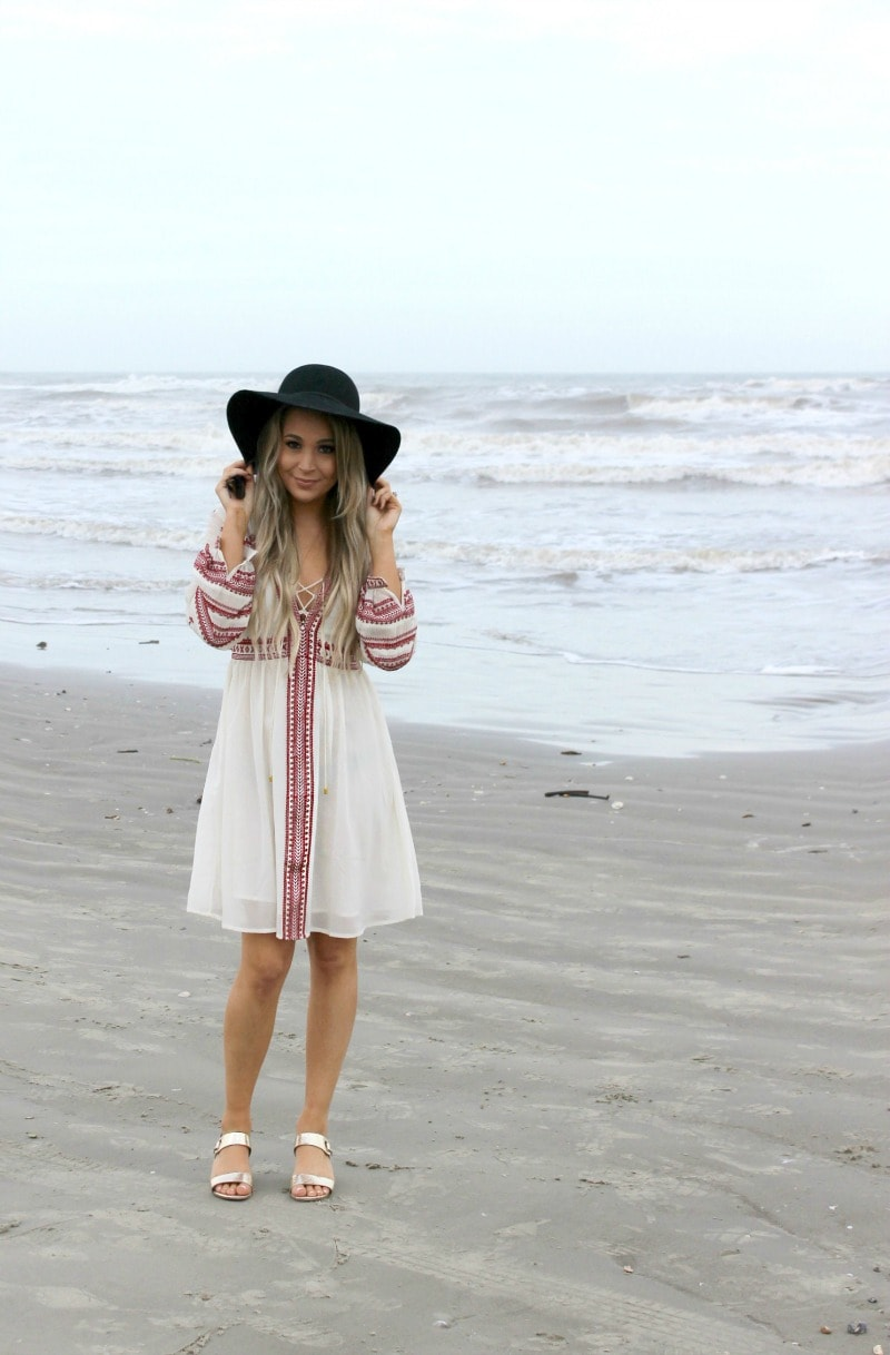 warm weather getaway must haves under $25 | topshop white and red boho dress | black fedora hat | metallic rose gold sandals
