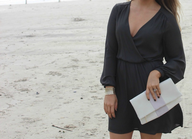 LUSH 'EMMA' SURPLICE SKATER DRESS on Beauty Blogger Brighter Darling | long sleeved dresses for spring details