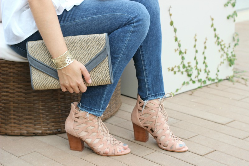 MARC FISHER FOOTWEAR | Lace Up Sandal Heels Nude Pink