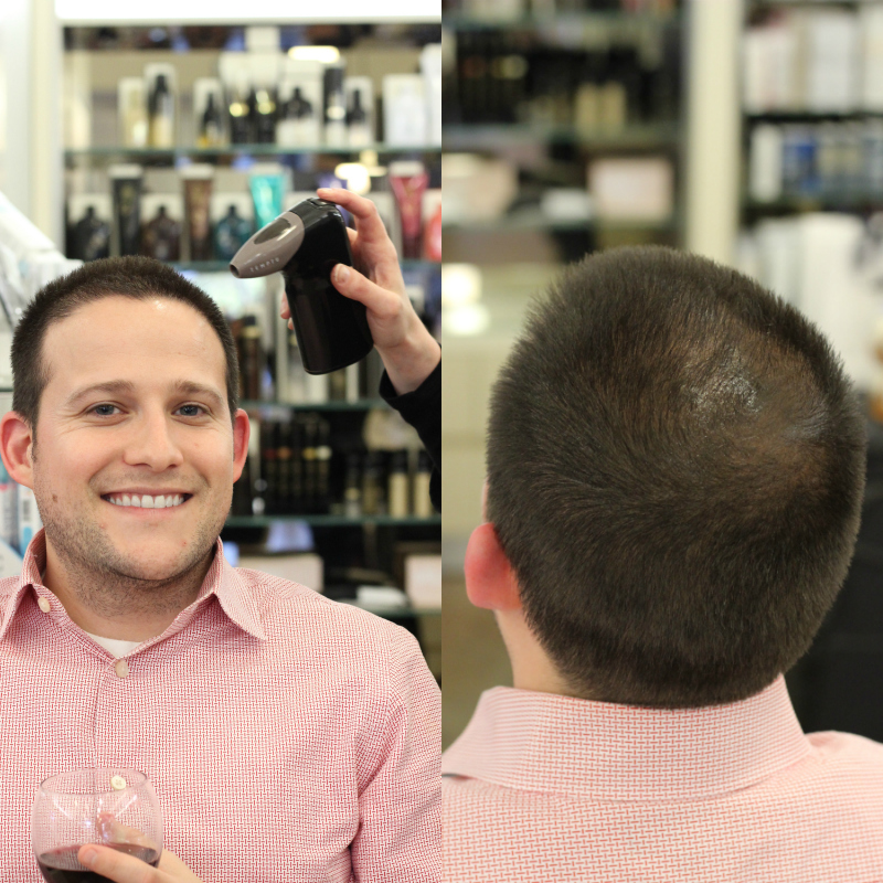 Temptu 24 Hour Airbrush Root Touch Up and Hair Color on Men at Cos Bar The Woodlands Houston TX