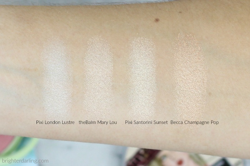 Pixi and Aspyn Novard Swatches and Comparison to The Balm Mary Lou Manizer and Becca Champagne Pop | London Lustre, The Balm Mary Lou Manizer, Santorini Sunset, Champagne Pop swatches