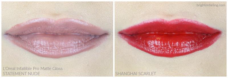 L'Oréal Infallible Pro Matte Gloss in Statement Nude and Shanghai Scarlet | L'Oréal Lip Color