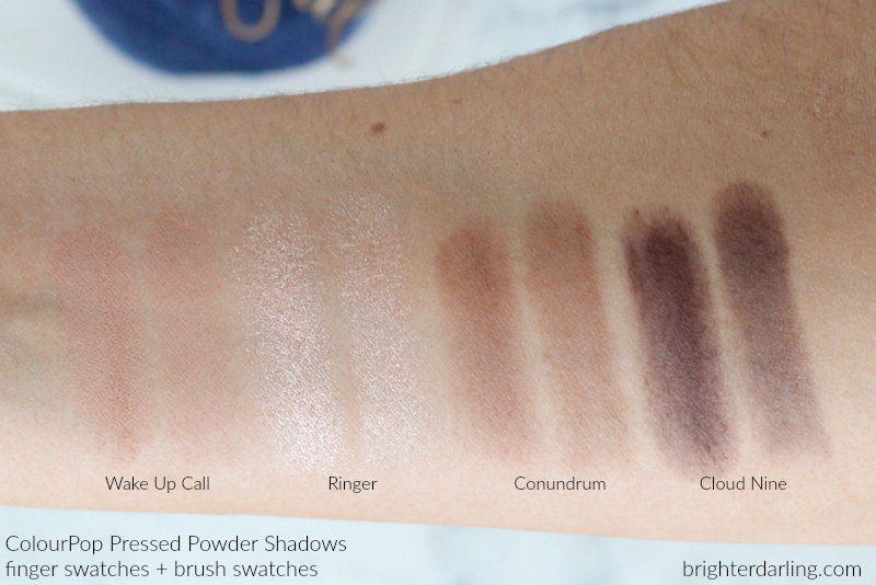 ColourPop Pressed Powder Shadows Review | ColourPop Eyeshadow Swatches Wake Up Call, Ringer, Conundrum, Cloud Nine