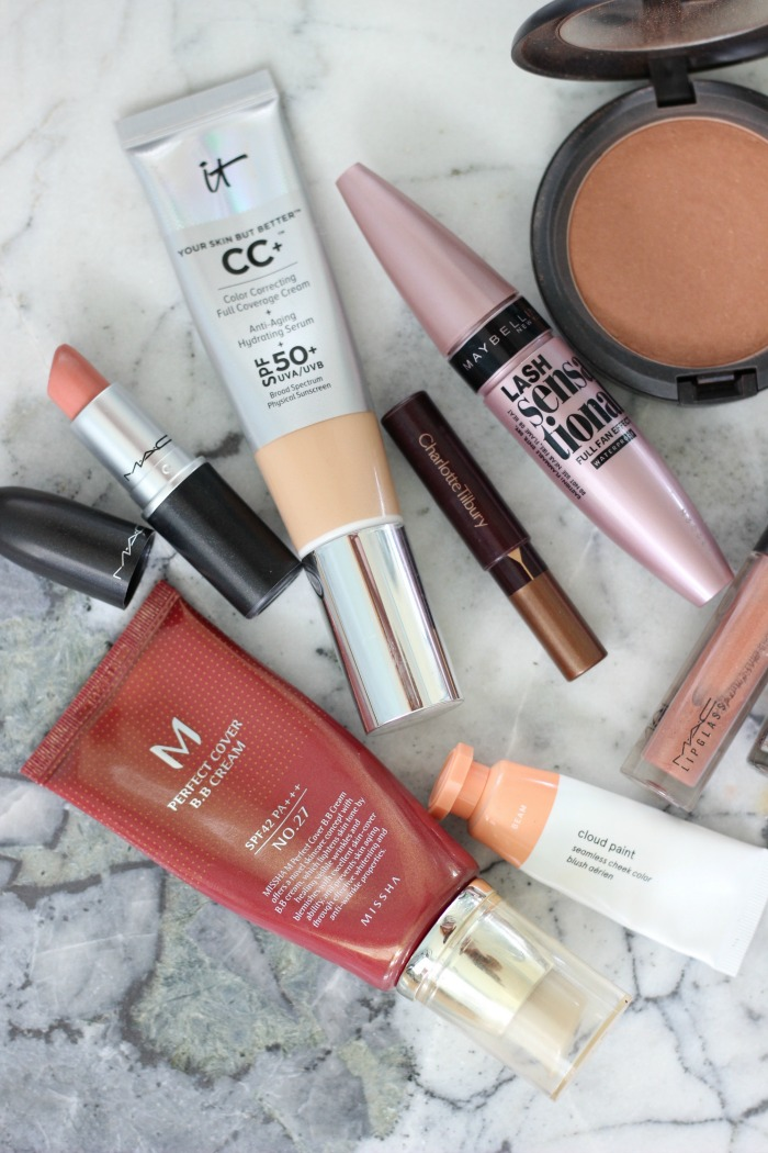 Summer Makeup Products | MAC Refined Golden, Glossier Cloud Paint in Beam, IT Cosmetics CC Cream Medium Tan, MAC Shy Girl