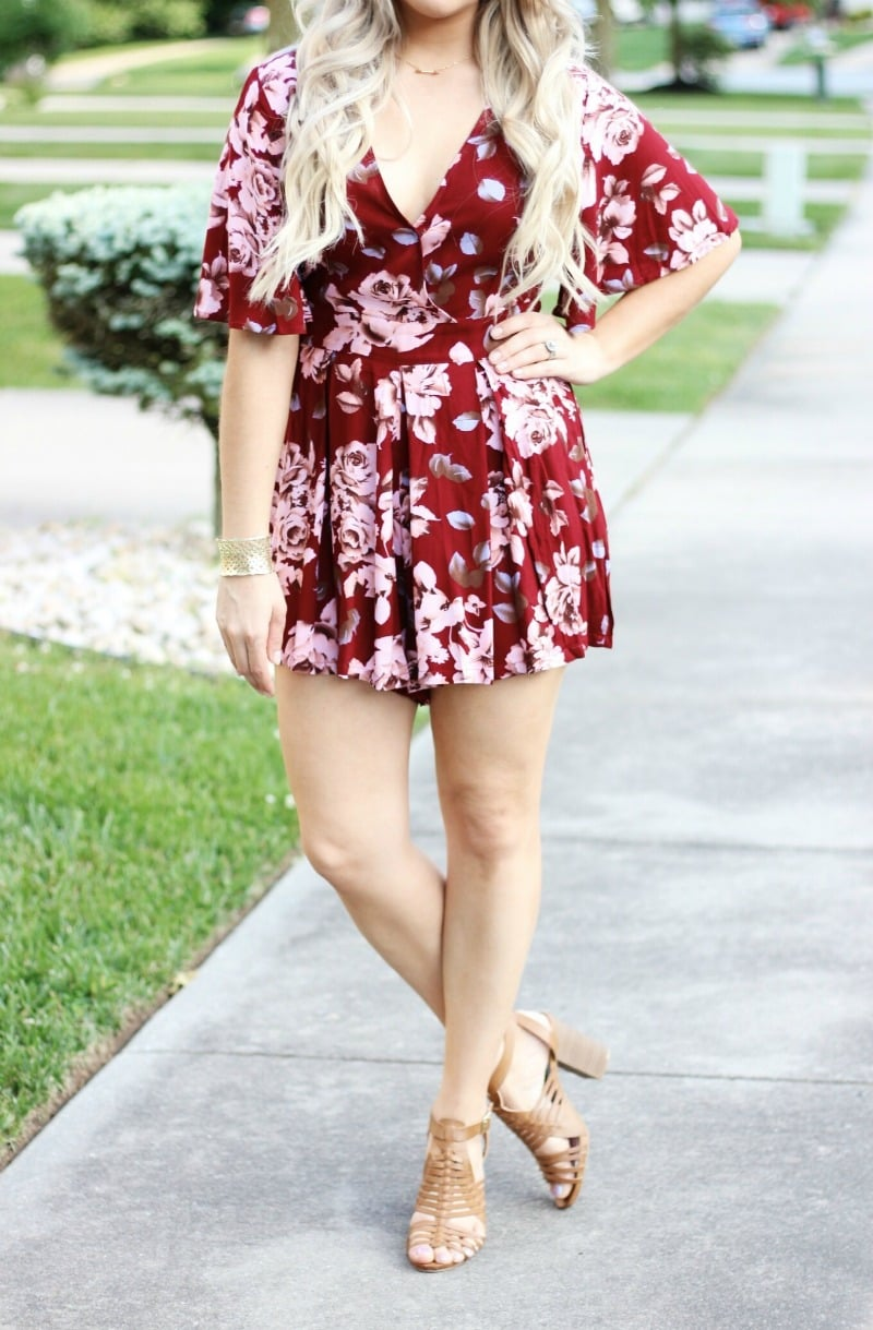 Affordable Fourth of July Outfit and Makeup | Red Floral V Neck Romper | Rompers for Short Girls