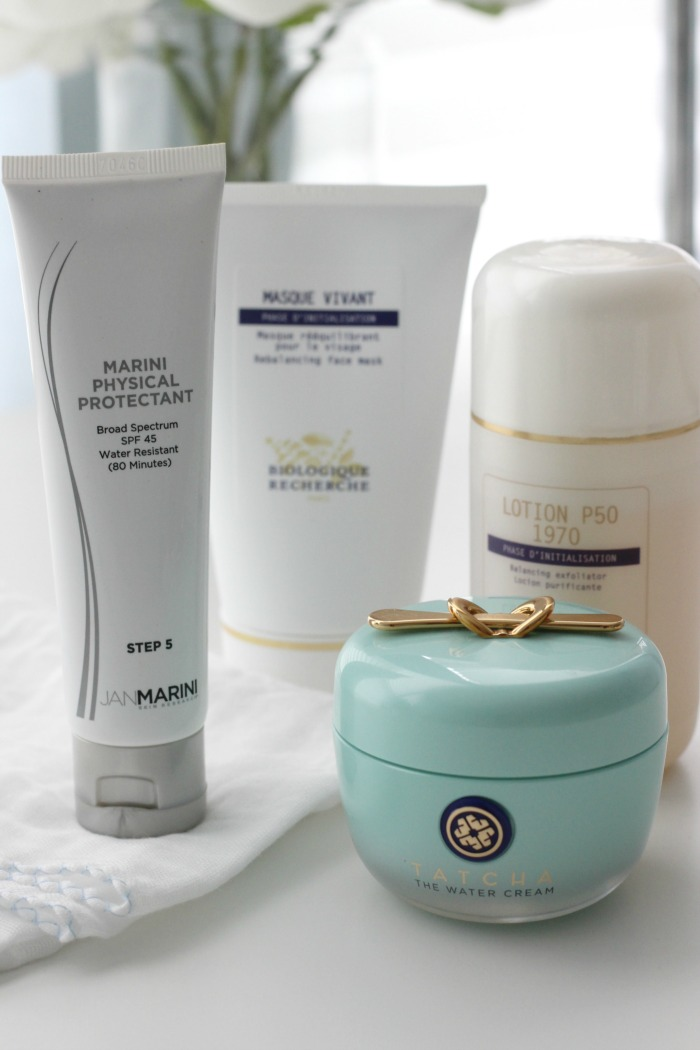 clear and glowing skin care products | New Skin Care Additions from Biologique Recherche Jan Marini and Tatcha | Skin Care Products That Keep Skin Clear and Glowing | Physical SPFs that don't break you out | Best Exfoliator for Skin | Best Night Cream for Oily Skin Tatcha The Water Cream
