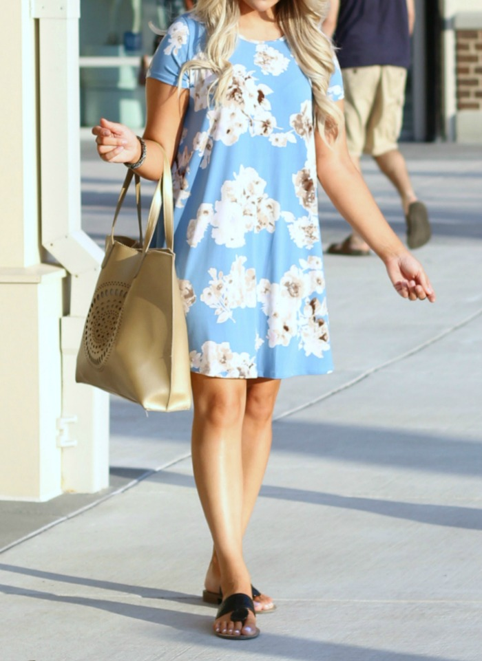 So In Love Dress Serenity from Shop The Mint | Light Blue Floral Swing Dress
