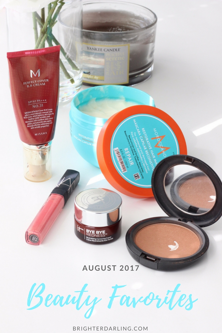 AUGUST 2017 BEAUTY FAVORITES - Moroccanoil Restorative Hair Mask - Missha Perfect Cover BB Cream Full Coverage BB Cream - MAC Refined Golden Bronzer - NARS Orgasm Gloss - IT Cosmetics Bye Bye Redness Review #beautyblog