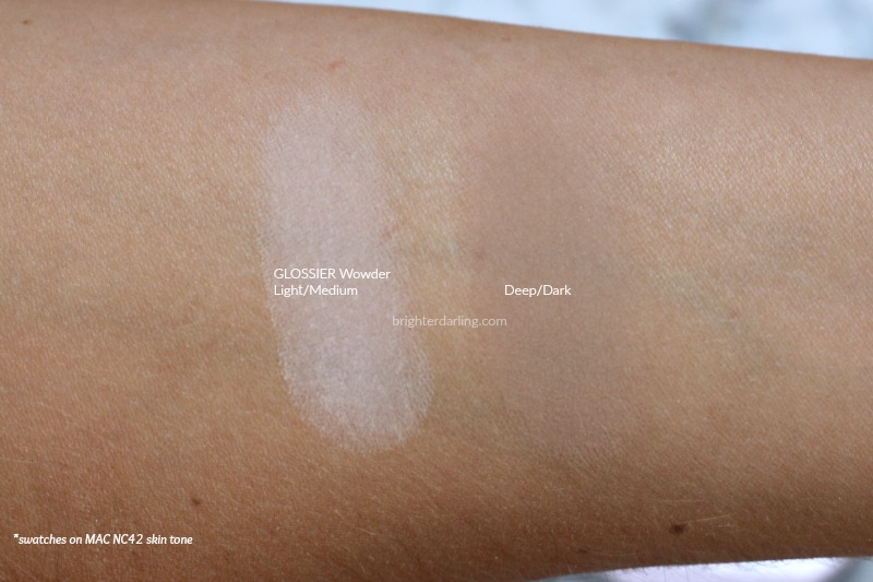 Glossier Wowder Swatches of Light Medium and Deep Dark