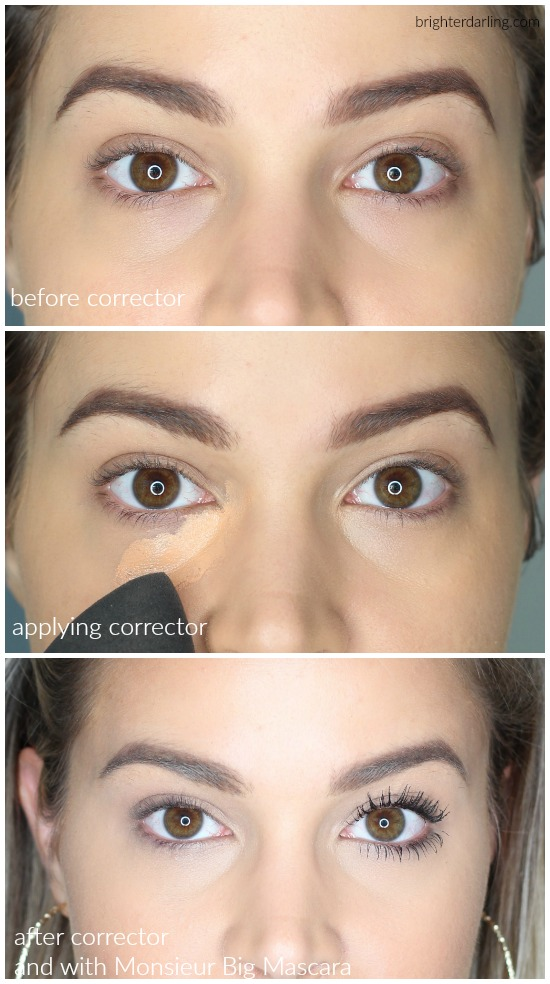 Lancome Teint Idole Camouflage Corrector in Peach Before and After