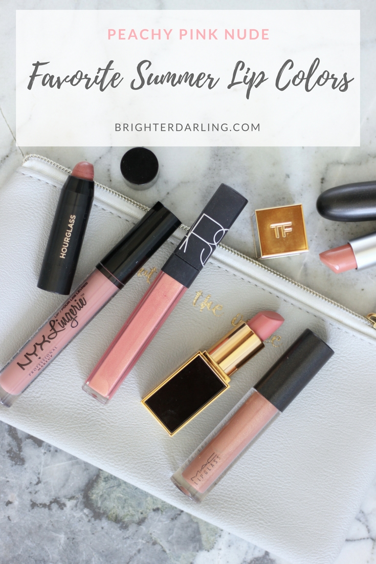 PEACHY PINK NUDE FAVORITE SUMMER LIP COLORS with swatches - Hourglass Peacemaker, NYX Bedtime Flirt, NARS Orgasm, TOM FORD Spanish Pink, MAC Beaux, MAC Shy Girl