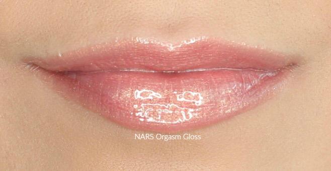 NARS Orgasm Lip Gloss Swatch on Medium Skin