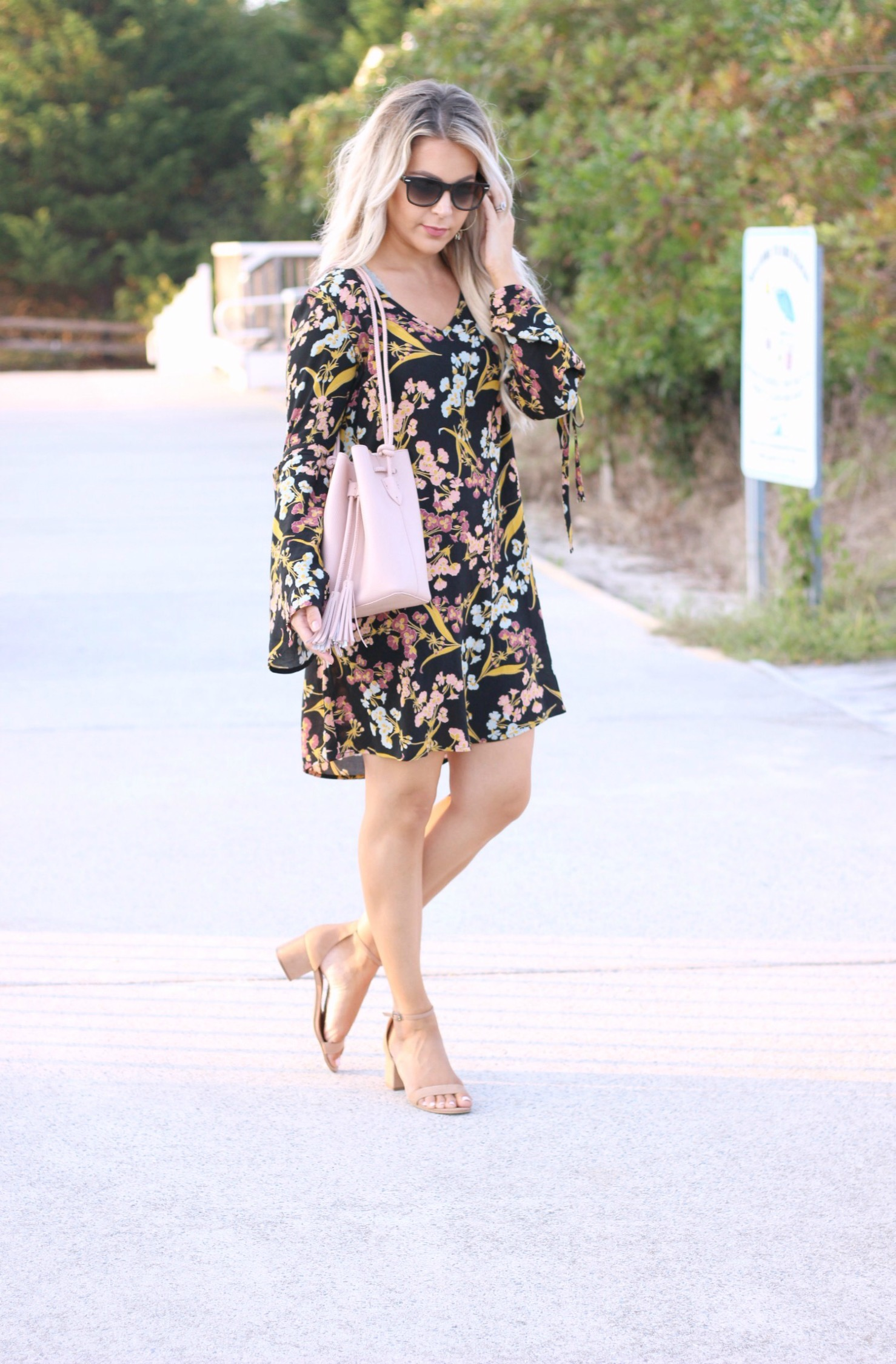 affordable fall fashion floral dress with sleeves | fall fashion staples