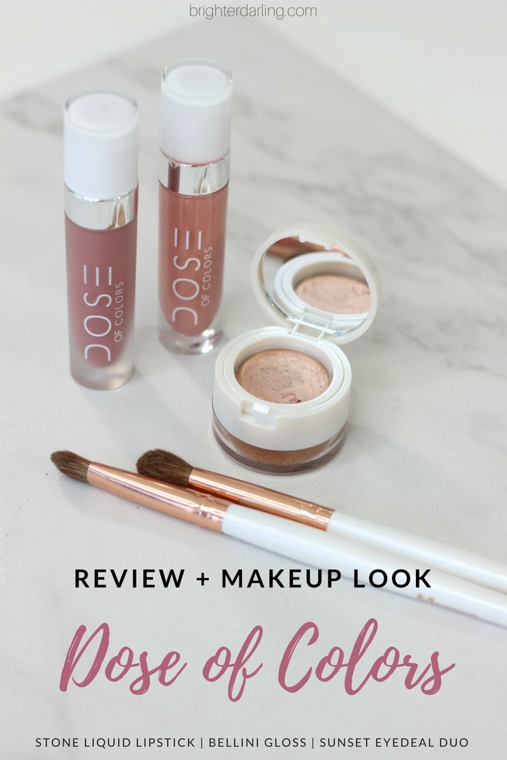Dose of Colors Review and Makeup Look Using Stone Liquid Lipstick Bellini Gloss and Sunset Eyedeal Duo - Dose of Colors Swatches