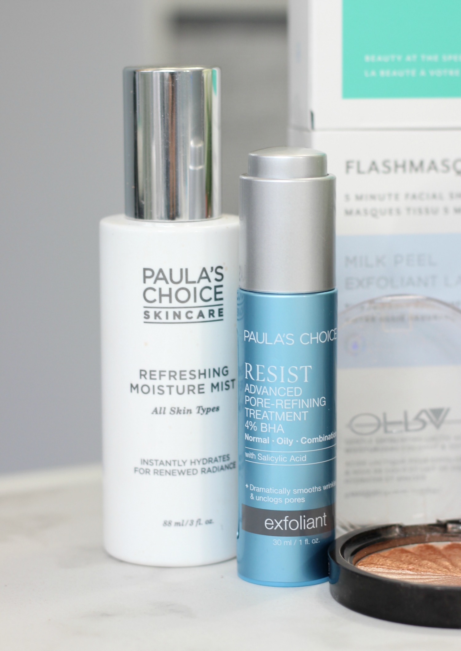 Favorite Products Glowing Skin Paula's Choice Refreshing Facial Mist Resist Advanced Pore Refining Treatment 4 percent BHA