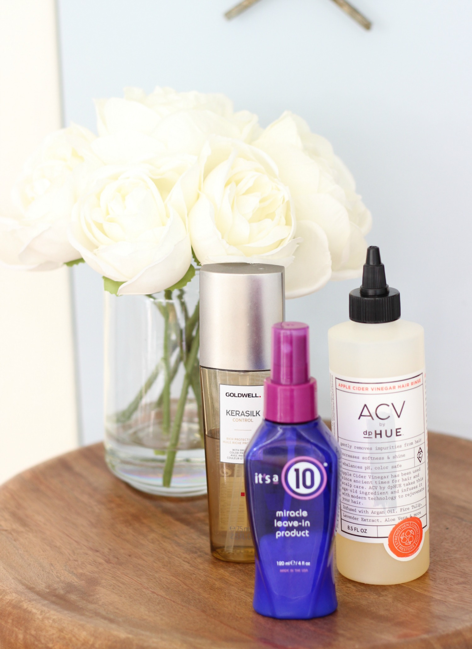 3 Products For Shiny Hair   It's A 10 Miracle Leave In, Goldwell Kerasilk Control Rich Protective Oil, dp.Hue Apple Cider Vinegar Rinse