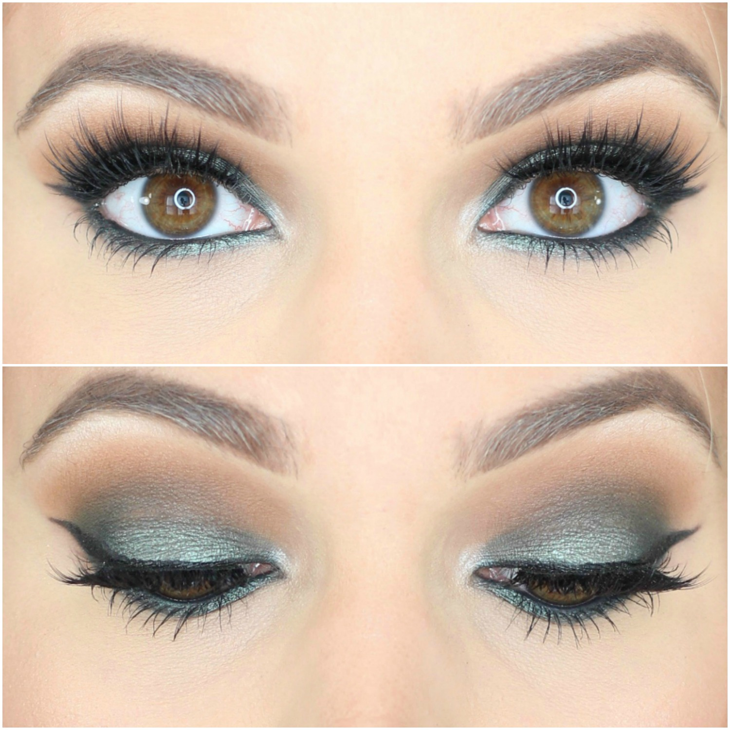Jaclyn Hill Morphe Palette Looks on Brown Eyes Green Smokey Eye