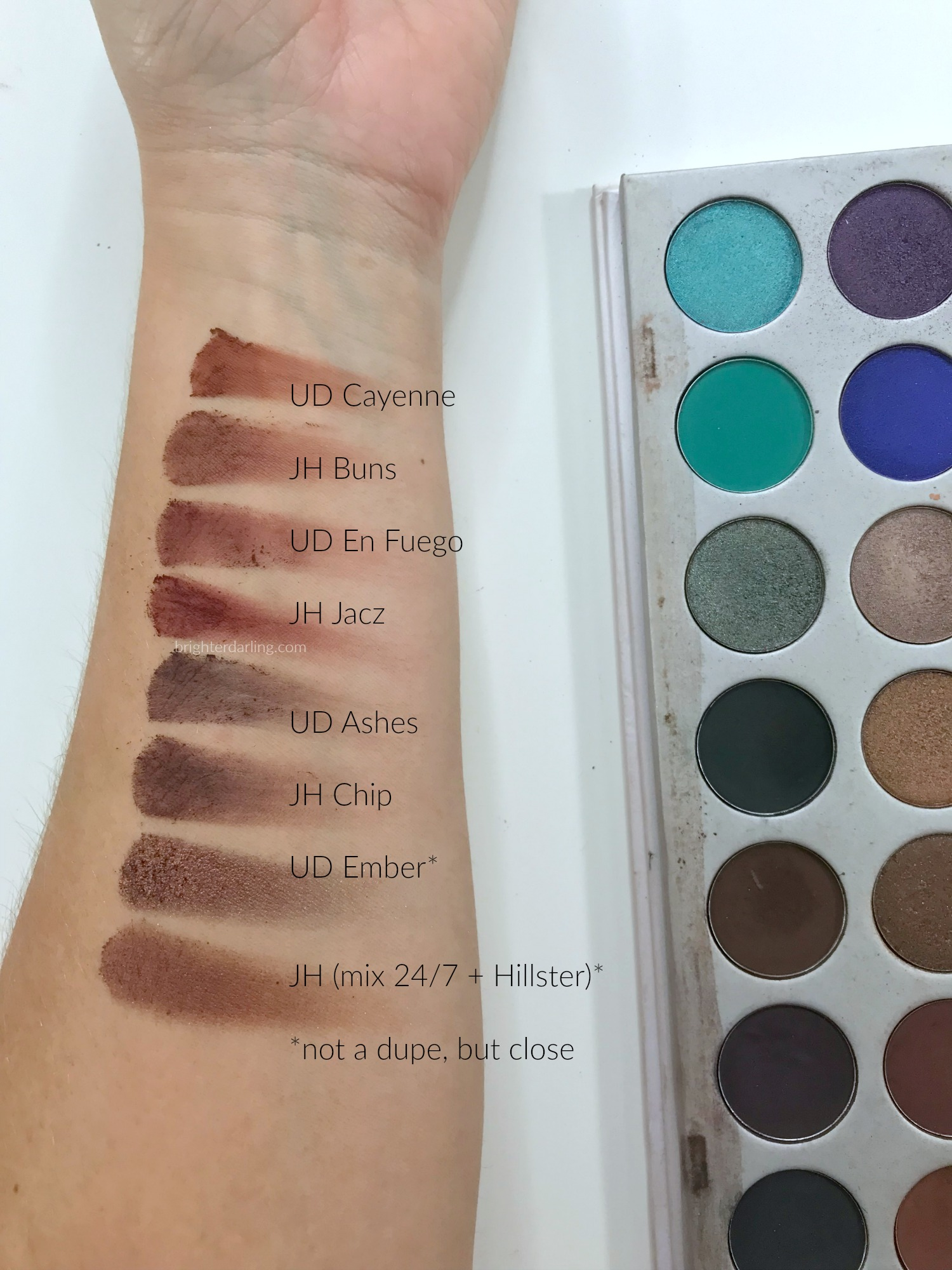 Jaclyn Hill Morphe Palette vs Urban Decay Naked Heat Swatches v2