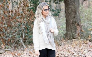 Oatmeal Cream Beige Tunic Sweater with Black Moto Leggings and Beige Checkered Scarf | Sweaters For Leggings | New Jersey Style Blogger
