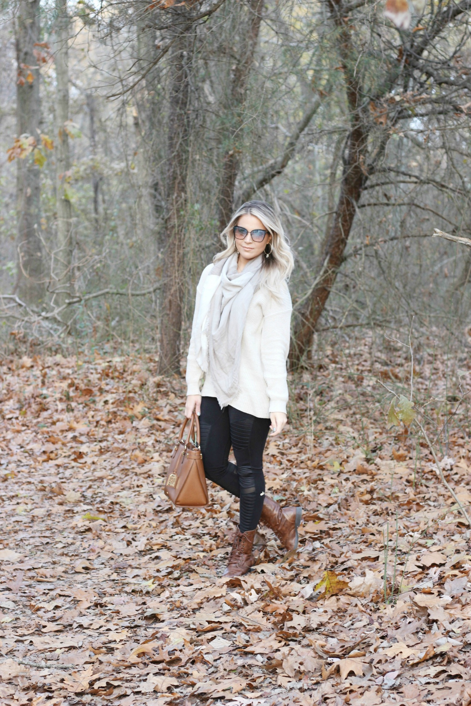 Oatmeal Cream Beige Tunic Sweater with Black Moto Leggings and Beige Checkered Scarf | Sweaters For Leggings | Philadelphia Style and Beauty Blogger