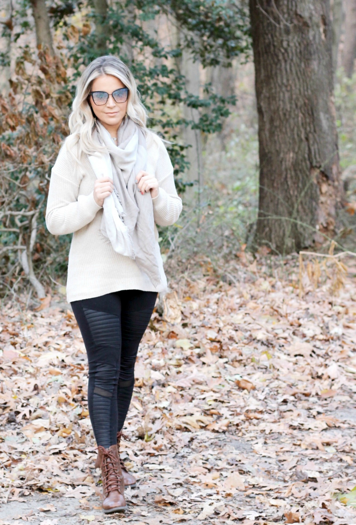 Oatmeal Cream Beige Tunic Sweater with Black Moto Leggings and Beige Checkered Scarf | Sweaters For Leggings | Philadelphia Style Blogger