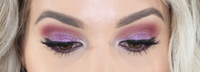 Purple Glitter Makeup Look | Purple Glitter Eyes Makeup Look