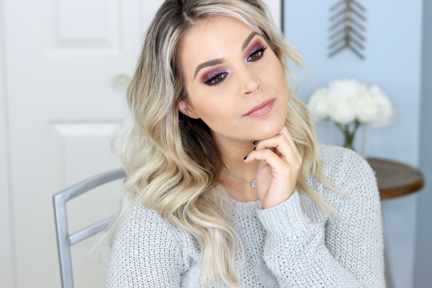 Holiday Party Glitter Makeup Look Purple Glitter NYX