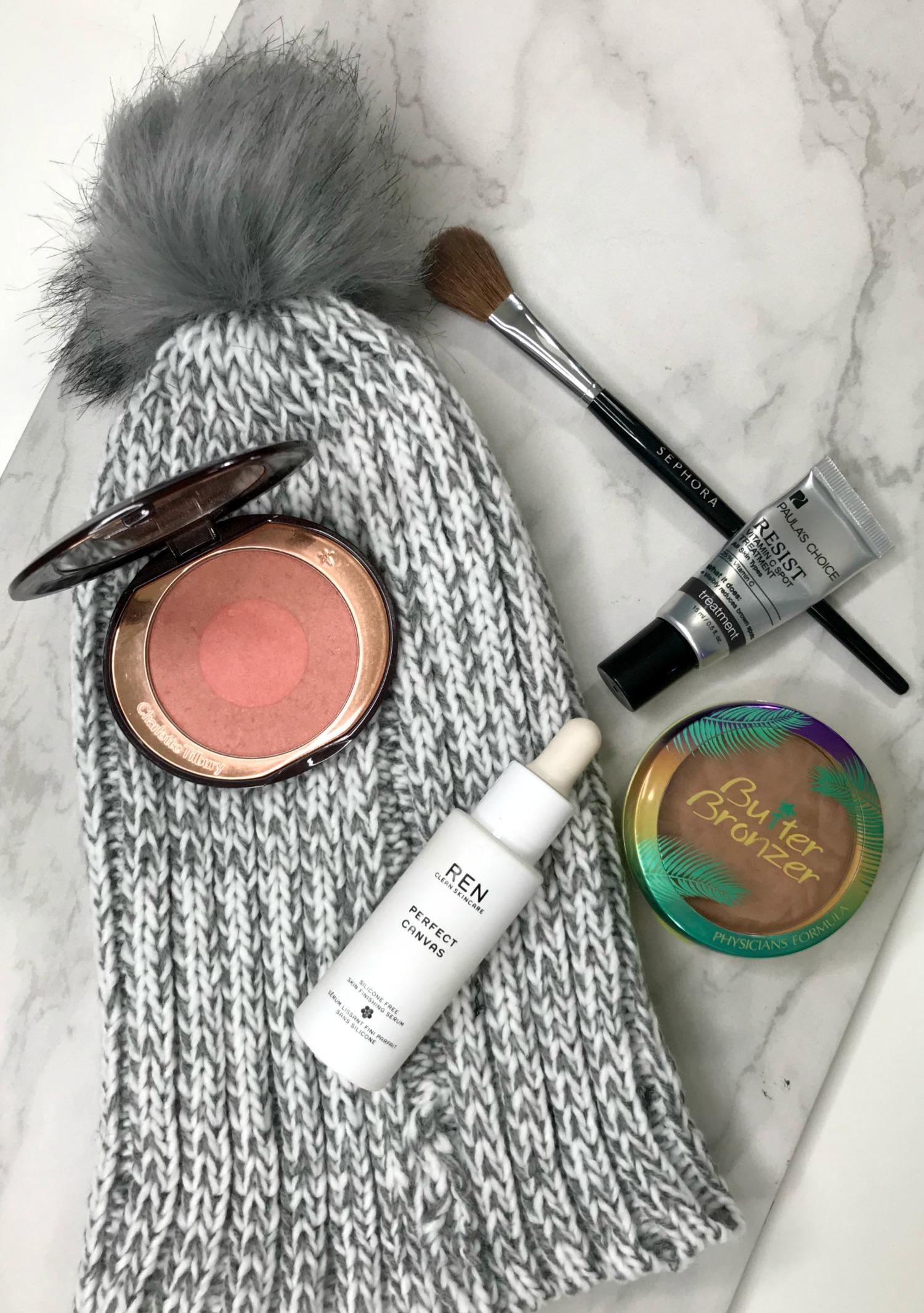 November 2017 Beauty Favorites Ren Perfect Canvas, Sephora 98 Brush, Charlotte Tilbury Ecstasy, Butter Bronzer