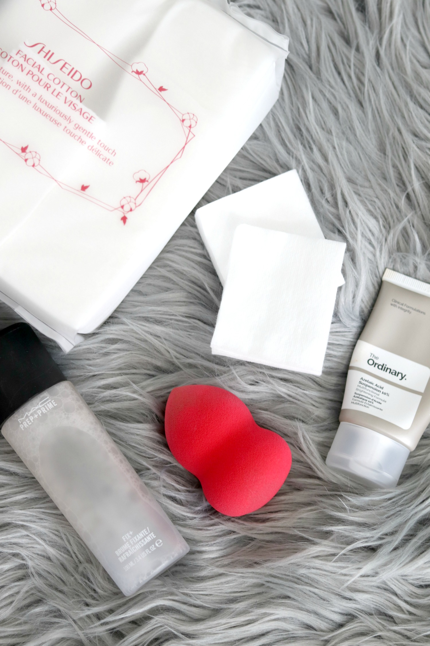Spring Sephora and Ulta Haul 2018 Shiseido Facial Cotton, MAC Prep and Prime Fix+, Morphe Blending Sponge Ulta, The Ordinary Azelaic Acid