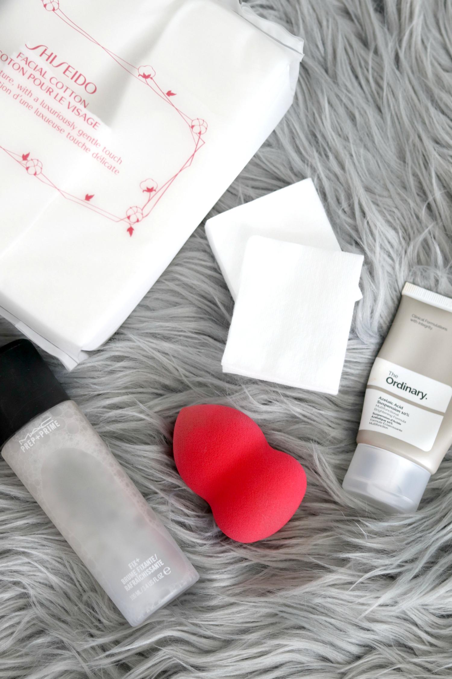 Spring Sephora and Ulta Haul 2018 Shiseido Facial Cotton, MAC Prep and Prime Fix+, Morphe Blending Sponge Ulta, The Ordinary Azelaic Acid