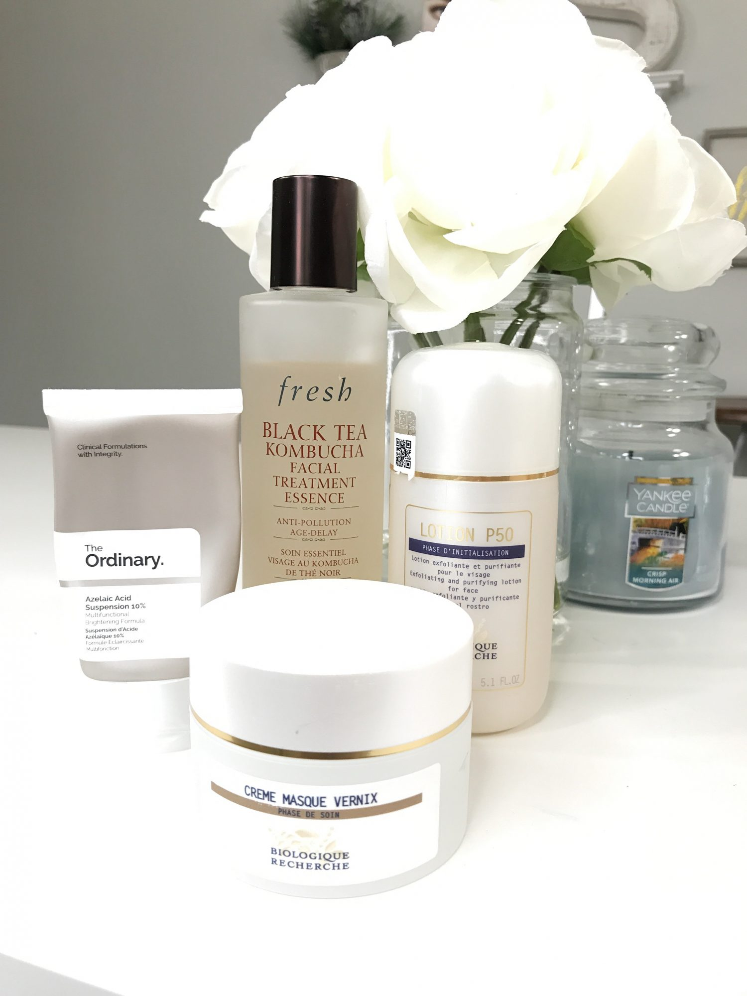 First Trimester Beauty Essentials | First Trimester Beauty Must Haves | How To Manage Breakouts During Pregnancy | The Ordinary Azelaic Acid, Fresh Black Tea Kombucha Essence, Biologique Recherche Creme Masque Vernix